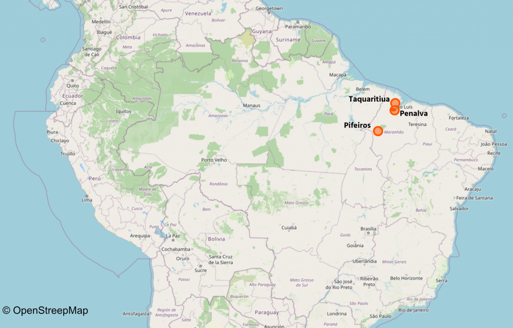 Map showing three Beyond The Net funded projects in Brazil
