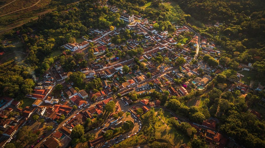 Aerial photo of Tiradentes, Brazil