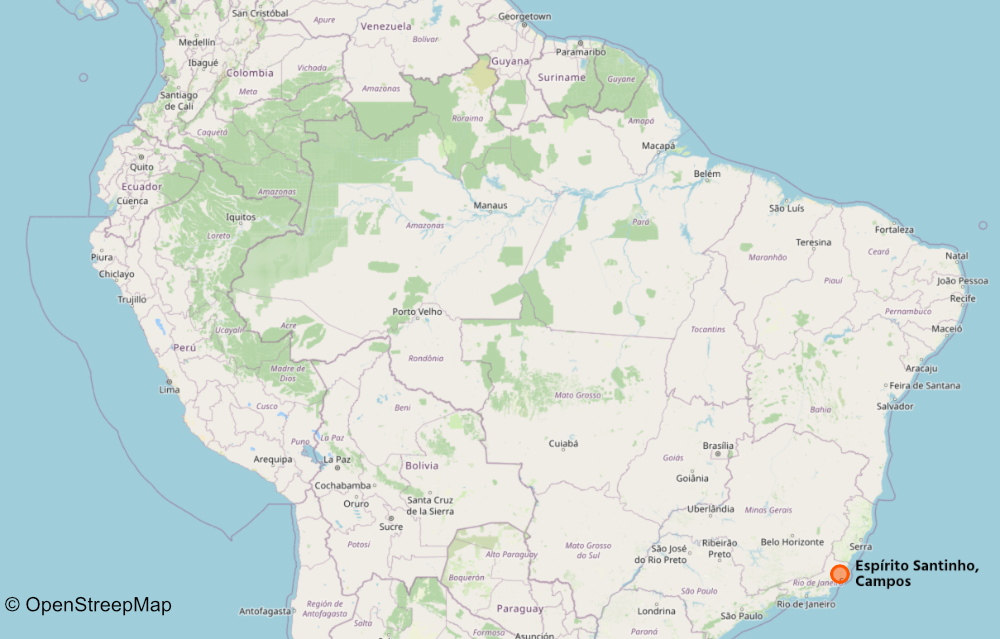 Map of Brazil, showing the location of Espírito Santinho in Campos